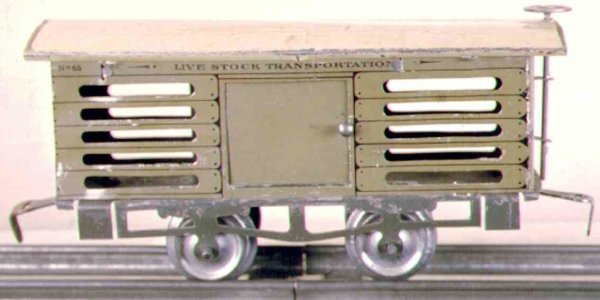 Ives Railway-Freight Wagons Stock car with four wheels, lithographed with on ecolored fr