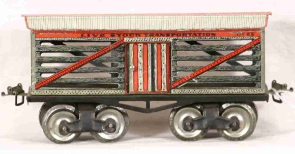 Ives Railway-Freight Wagons Cattle car with four wheels, lithographed, roof in white and