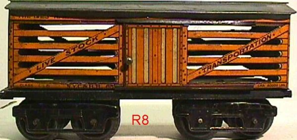 Ives Railway-Freight Wagons Stock car with eight wheels, roof with cat walk, type B M-st