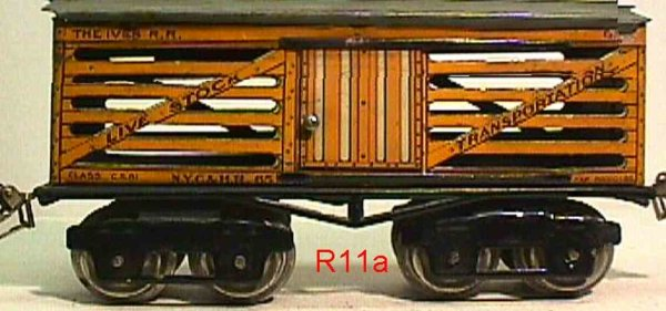Ives Railway-Freight Wagons Stock car with eight wheels, orange or yellow lithographed;