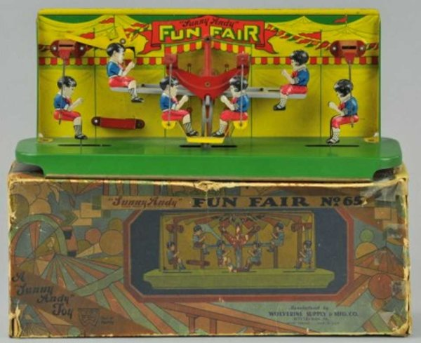 Wolverine Tin-Toys Sunny Andy, Fun Fair#65 lithographed tin, depicts six chil