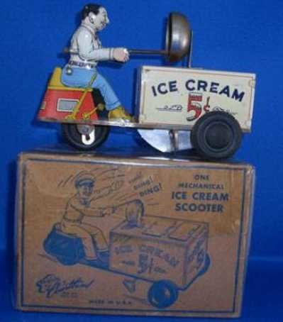 Courtland Tin-Figures Motorcycle Ice Cream Scooter with wind up, depicts ice cream