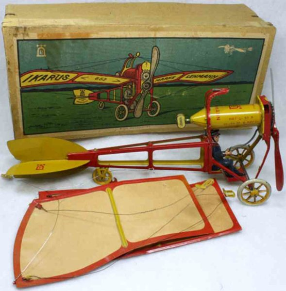 Lehmann Tine Ariplanes IKARUS airplane #653, these toys were made to hang from a st