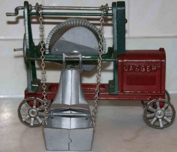 Kenton Hardware Co Cast-Iron Tugs-Rollers JAEGER cement mixer has red-finish hood and undercarriage,