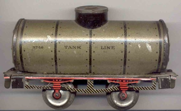 Ives Railway-Freight Wagons Tank car #66 1909 with four wheels, made of tin lithographed