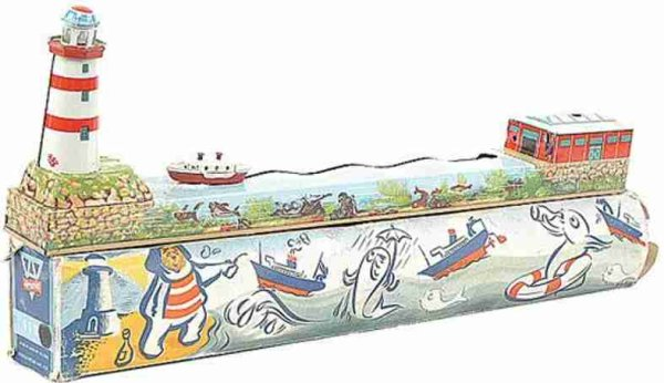 Arnold Tin-Toys clockwork Boat Display - comprising colourfully tinprinted d