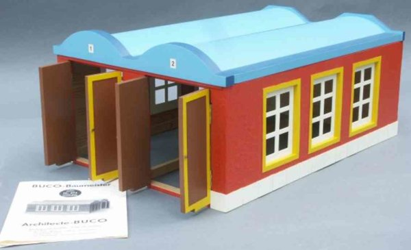 Buco (Bucherer) Railway-Engine Sheds 2-constant engine shed in red, blue and yellow, 2 gates with