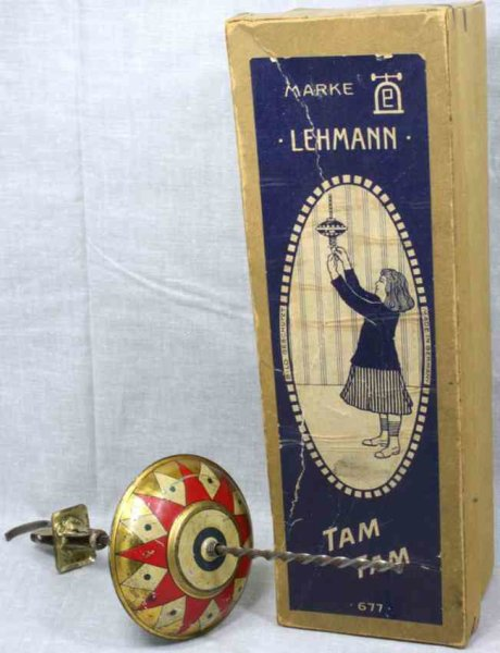 Lehmann Tin-Toys TAM-TAM #677, top with spiral drive, twoparts. They operate