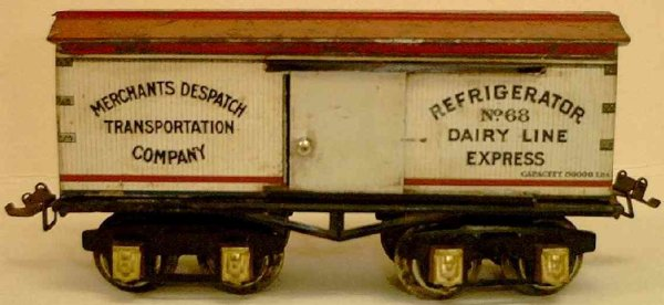 Ives Railway-Freight Wagons Refrigerator car lithographed non-embossed frame, shellacke