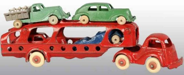 Hubley Cast-Iron trucks Cast iron carrier car with white rubber tires with three car