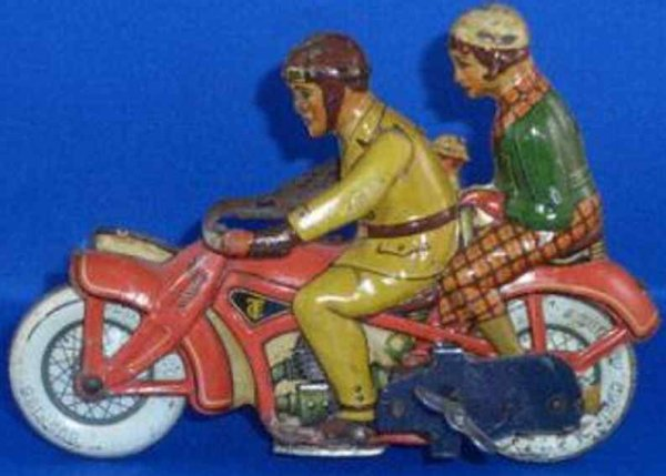 Tippco Tin-Motorcycles Motorcyclist with sidecar, lithographed