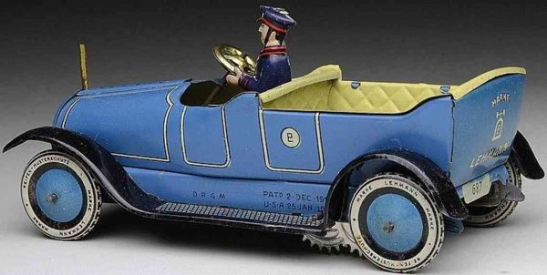 Lehmann Tin-Oldtimer PANNE #687 touring car with driver and clockwork in blue, co
