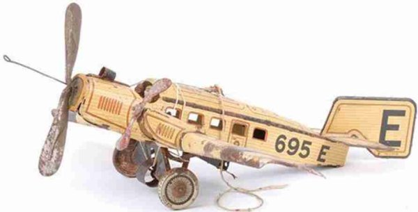 Guenthermann Tine Ariplanes Airplane monoplane with clockwork, lithographed in yellow, r