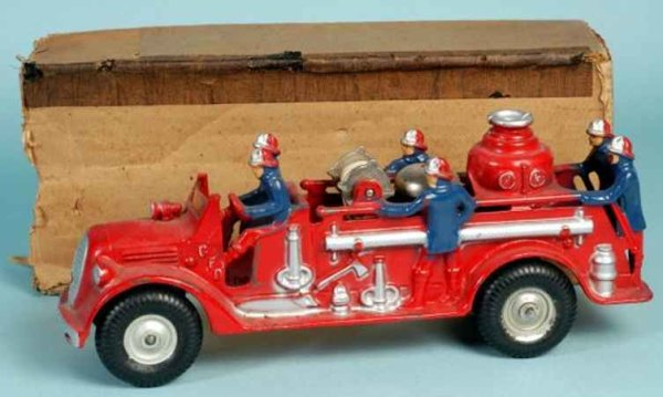 Arcade Cast-Iron fire trucks Ford fire pumper engine done in red, silver highlights on em