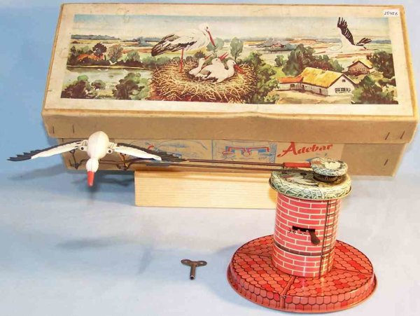 Rühl Tin-Toys Stork with clockwork of tin and plastic, lithographed in red