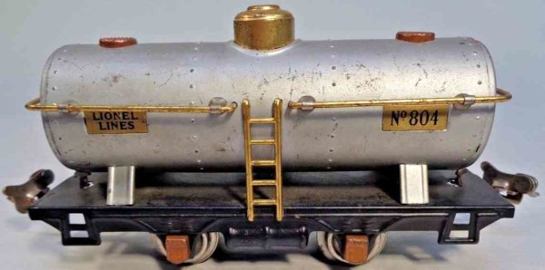 Lionel Railway-Freight Wagons Tank car #804.8 with four wheels, body painted in aluminum c