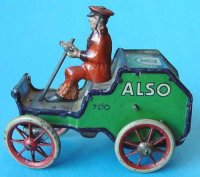 Lehmann Tin-Oldtimer ALSO #700 car with driver and coil...