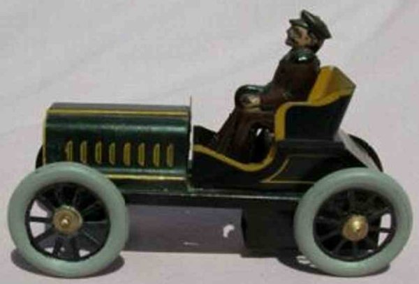 Carette Tin-Oldtimer Car only for a person with friction drive, driver wears a br
