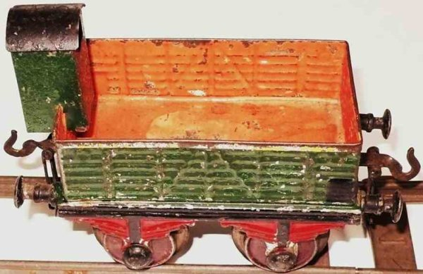 Bing Railway-Freight Wagons Hopper with brakeman house #7045 with four wheels, green/ora