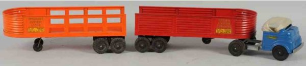 Structo Tin-Trucks Pressed steel cab and trailer set 702 and 704, one  truck ca