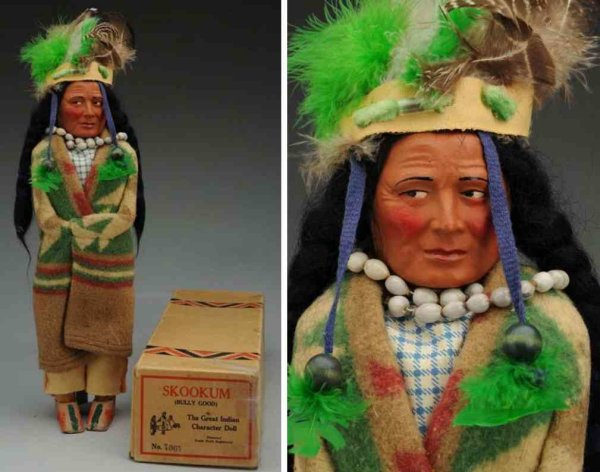 Skookum Dolls Brave Indian with composition molded head with character fac
