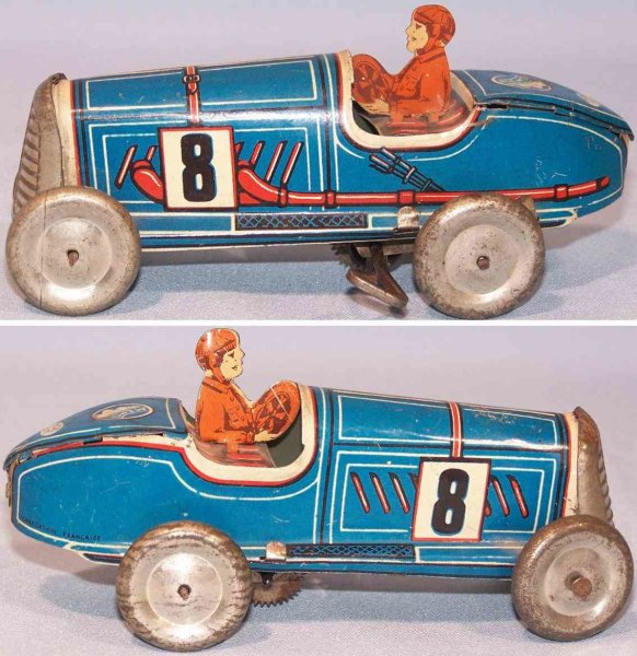 Memo Gutmann Tin-Race-Cars Race car with clockwork, made of tin lithographed in blue, w