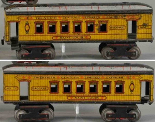 Ives Railway-Passenger Cars Saint Louis combine car #71 with eight wheels, body in yello