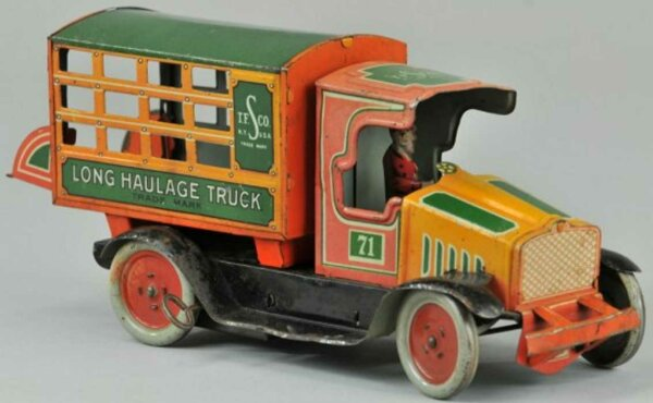 Strauss Tin-Trucks Long haulage toy truck lithographed tin, C cab with enclos