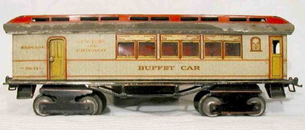 Ives Railway-Passenger Cars Buffet car with eight wheels in white, fifth version, 70 ser