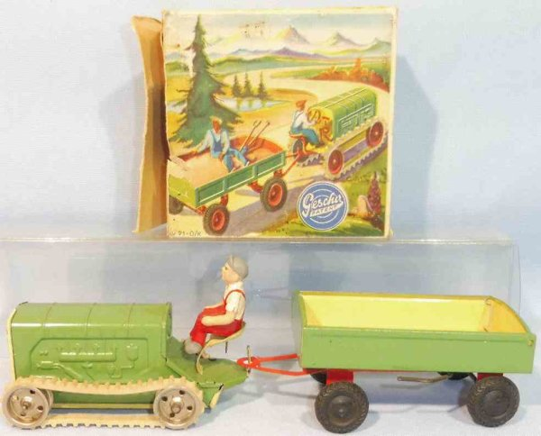 Gescha Tin-Tugs/Rollers Crawler tractor with supporter and clockwork, made of tin in