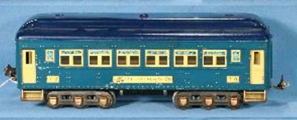 Lionel Railway-Passenger Cars Pullmann car 710:15 with 12 wheels, in medium blue body and