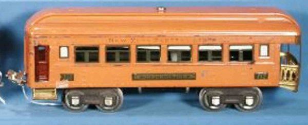Lionel Railway-Passenger Cars Observation car in orange with maron doors, lettered NYC