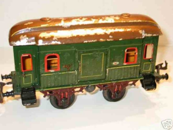 Bing Railway-Passenger Cars Mail and baggage car #7129/1 with four wheels, turn green ha