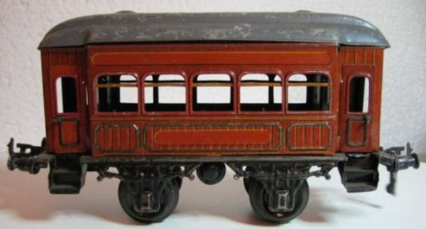 Bing Railway-Passenger Cars Passenger car #7143 with four wheels, burgundy hand painted