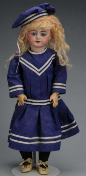 Simon & Halbig Dolls Bisque head child doll with blue sleeping eyes, multi-stroke