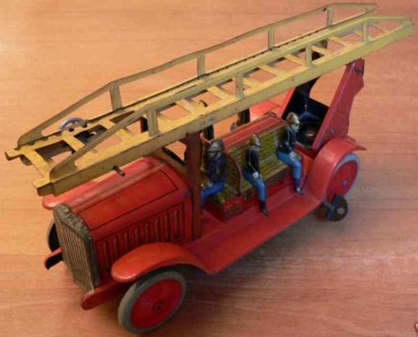 JEP Tin-Fire-Truck Fire department car with 6 firemen, rotatable foot, rack-and