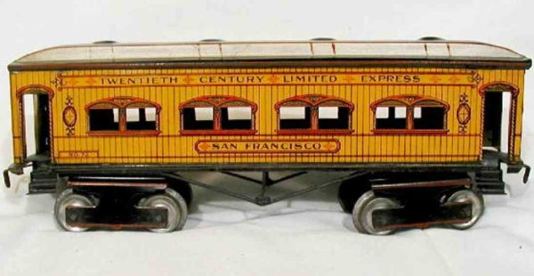 Ives Railway-Passenger Cars Car number 72 was a coach with eight wheels. Early roofs are