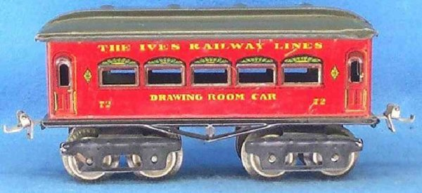 Ives Railway-Passenger Cars Passenger car with eight wheels, red or maroon lithographed