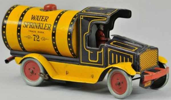 Strauss Tin-Trucks WATER SPRINKLER truck, lithographed tin, done in dark blue c