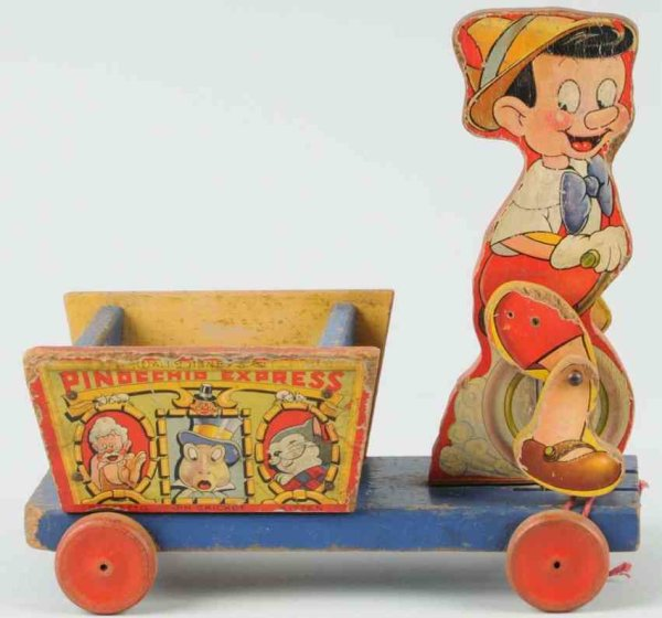 Fisher-Price Wood-Pull-Toys Disney Pinocchio express, paper on wood, shows characters of