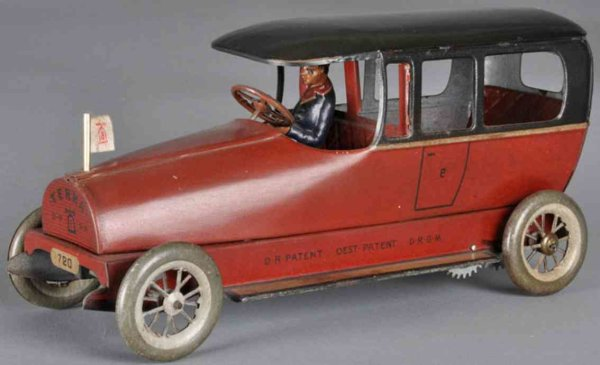 Lehmann Tin-Oldtimer Terra #720, windup, lithographed red, with black roof, upper