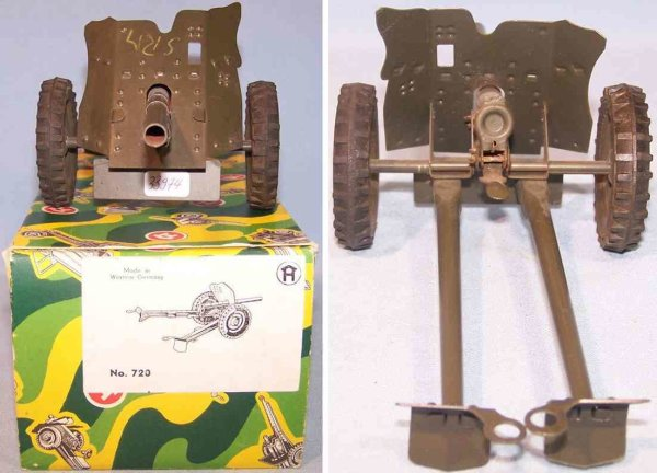 Hausser (Elastolin) Military Toys-Arms Gun in original box, made of pre-war production with after w