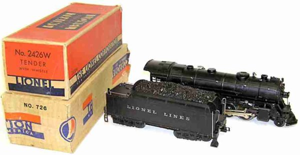 Lionel Railway-Locomotives Steam engine no, 726  2-8-4 with ist No. 2426W Tender, stanc