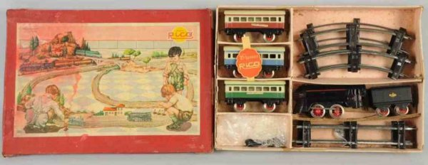 Rico Railway-Trains Train set includes steam type engine marked 730 with match