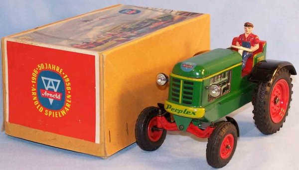 Arnold Tin-Tugs/Rollers Perplex electrical tractor, lithographed in green, yellow, r