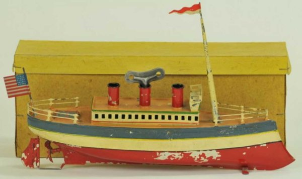 Carette Tin-Ships Ocean liner this early hand painted liner is done in red, wh
