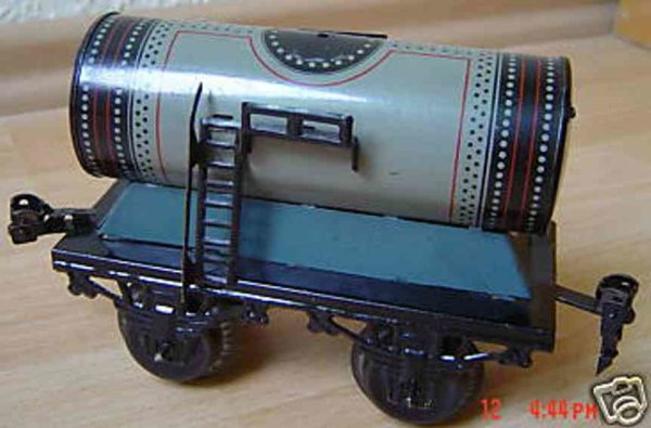 Bub Railway-Freight Wagons Tank car #737/0 with four wheels, gray lithographed, without