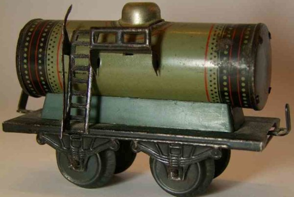 Bub Railway-Freight Wagons Tank car #737/0 with four wheels in a gray way chrome-lithog