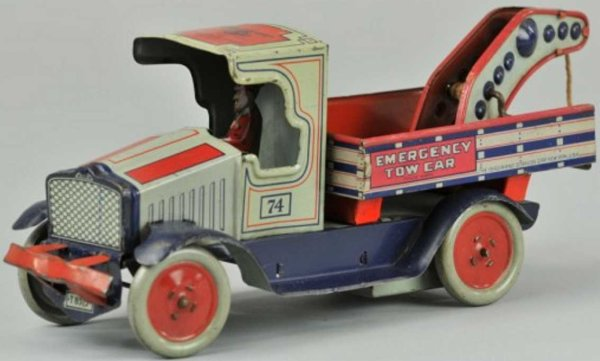 Strauss Tin-Trucks Emergency tow truck lithographed tin, done in red, white, an