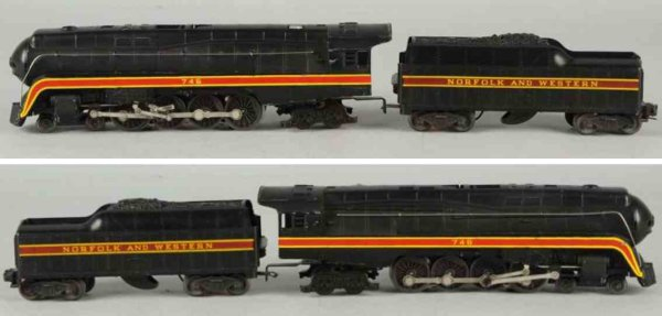 Lionel Railway-Locomotives Engine #746 and tender #746 W marked Norfolk & Western and